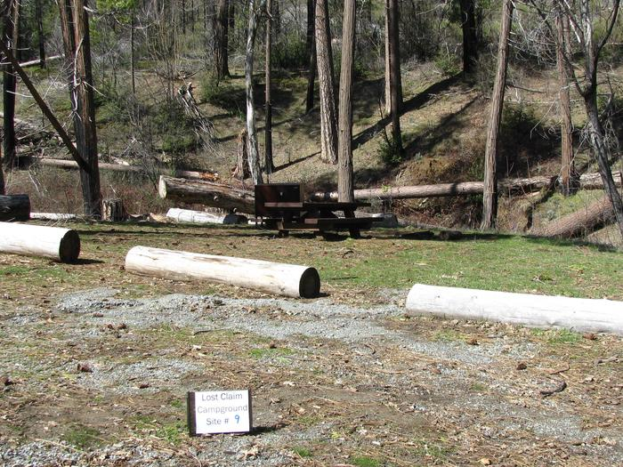 Native surface site with picnic table, fire ring and bear-proof food storage boxLost Claim Campground Site #9