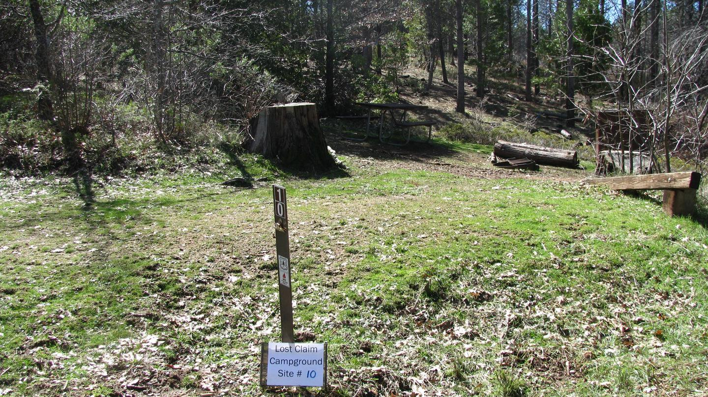 Native surface site with picnic table, fire ring and bear-proof food storage boxLost Claim Campground Site #10