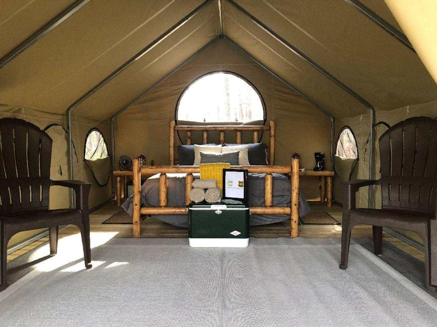Lake Powhatan Glamping TentGlamping Tents - new for 2019! Glamping is all about finding the perfect relationship between nature and comfort. These Glamping tents provide all you'll need, plus some.