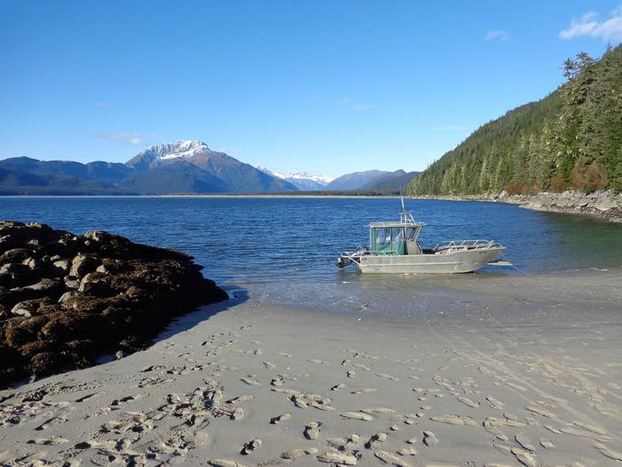 Sand beach with mooring buoy