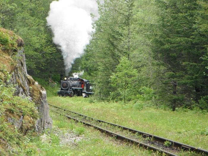 View from the front porch of trains passing the cabin