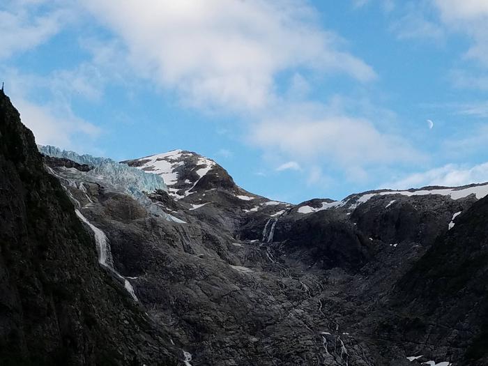 View of Denver Glacier from the Denver Glacier Trail (trail starts at Denver Caboose Cabin)