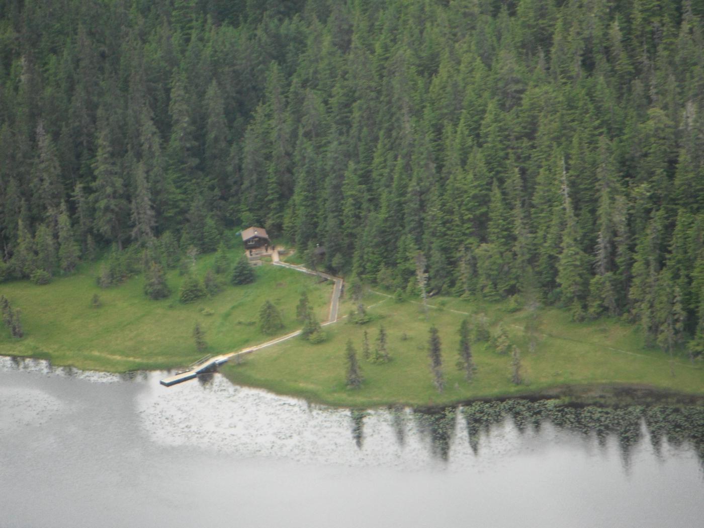 View of cabin from the air