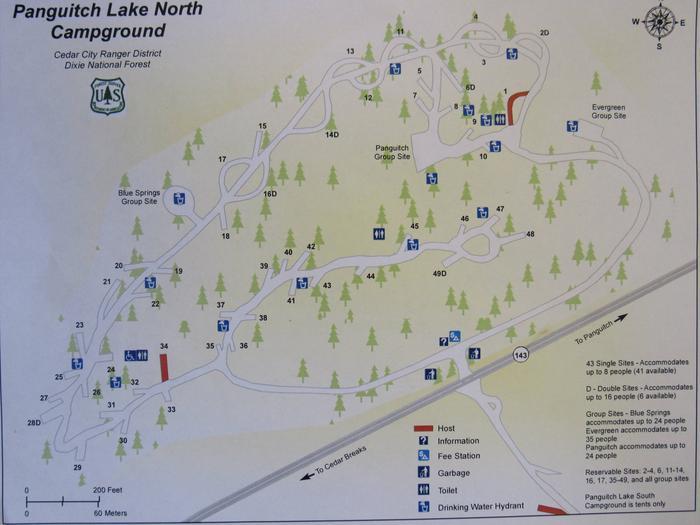 Panguitch Lake Campground map