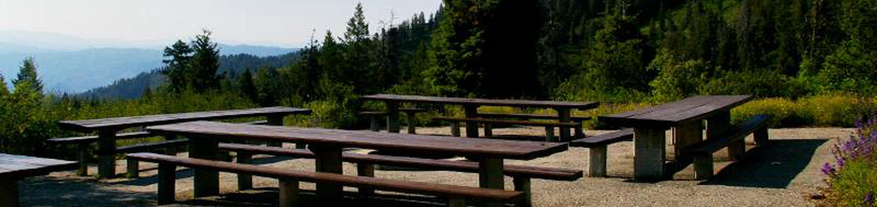 Shafer Butte campground has amazing mountain top views overlooking the valley below with single-family tent campsites, two day-use, group picnic areas, and all sites are equipped with picnic tables and campfire rings, and a few have tent pads.Shafer Butte Campground