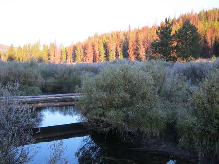 May Creek cabin areaBridge across May Creek to cabin