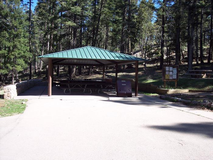Ramada with additional picnic tables at Aspen Group Campground