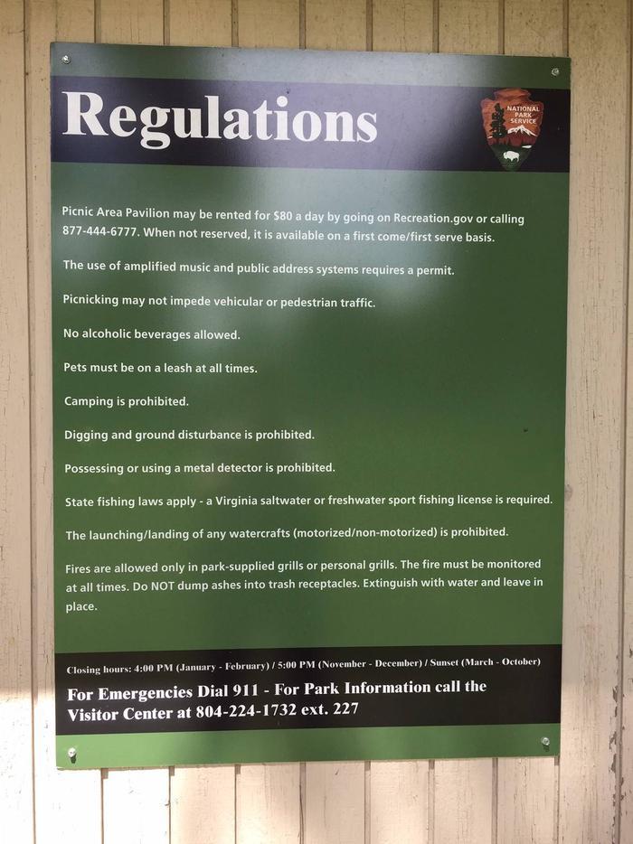 RegulationsPicnic Area Regulations