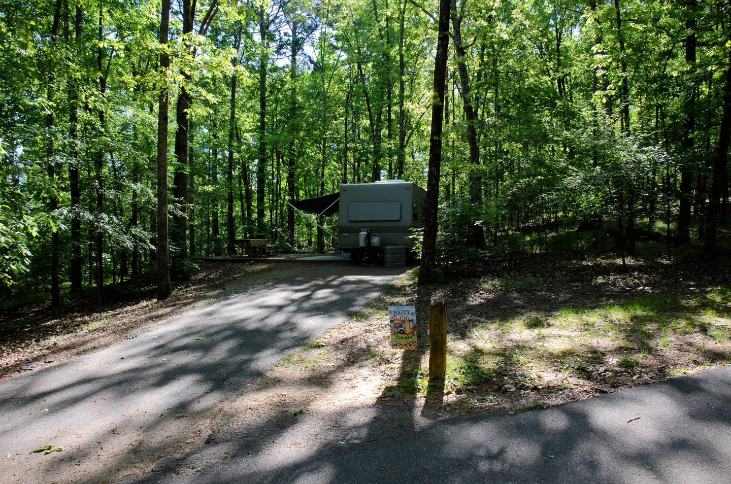 Driveway slope, clearance on utilities side.McKinney Campground, campsite #6