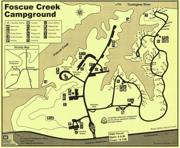 Campground map.Foscue Creek Campground Map