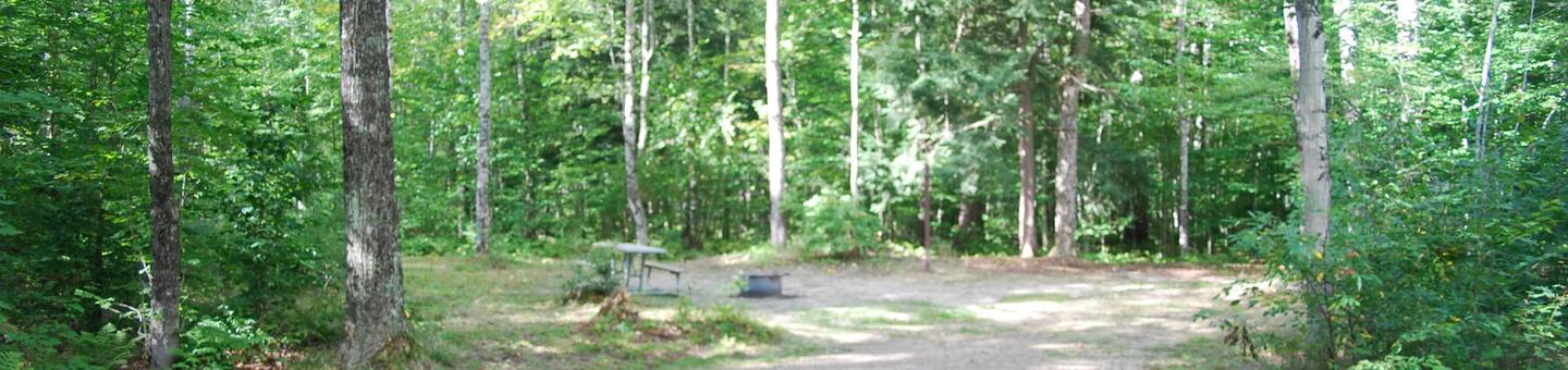 AuTrain Lake Campground site #01 full site view with table, fire pit, and picnic table.