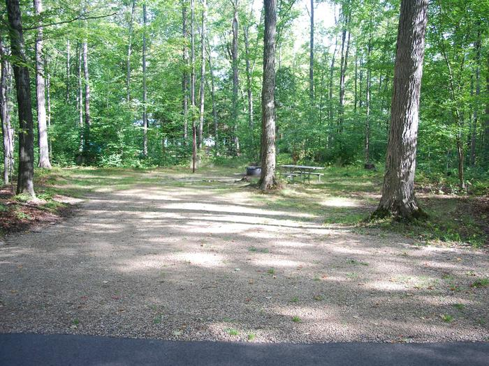AuTrain Lake Campground site #02 full site view with table, fire pit, and picnic table.