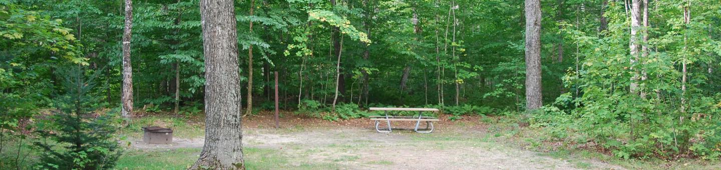 AuTrain Lake Campground site #03 full site view with table, fire pit, and picnic table.