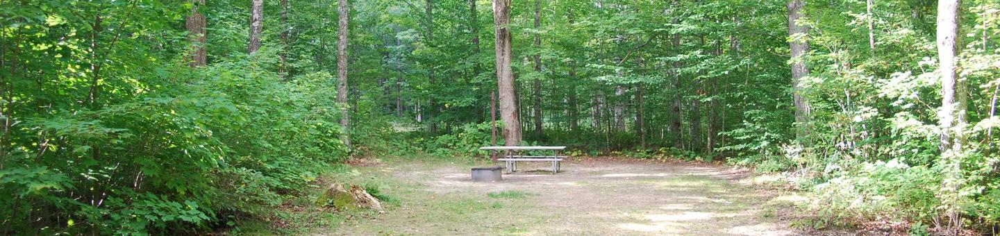 AuTrain Lake Campground site #05 full site view with table, fire pit, and picnic table.