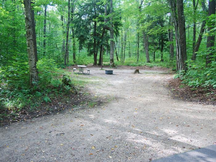 AuTrain Lake Campground site #08 full site view with table, fire pit, and picnic table.