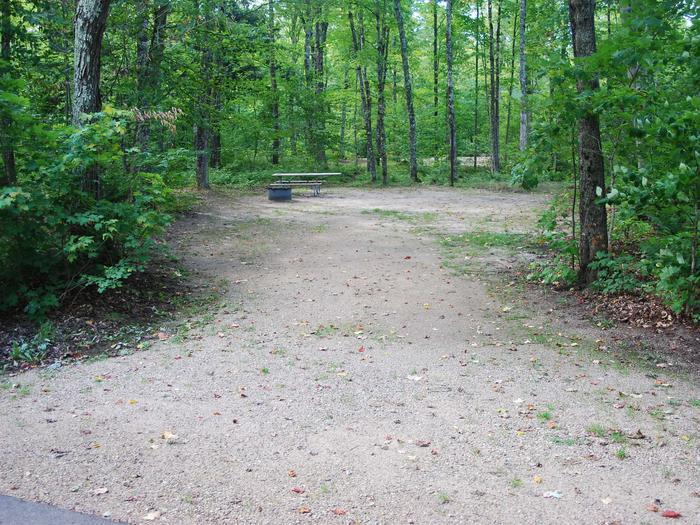 AuTrain Lake Campground site #18 full site view with table, fire pit, and picnic table.