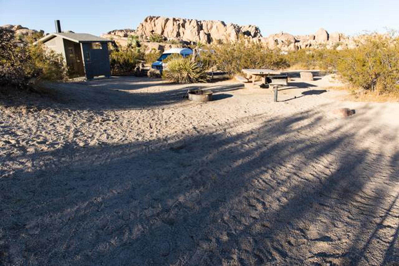 Jumbo Rocks site 50Campsite near restroom