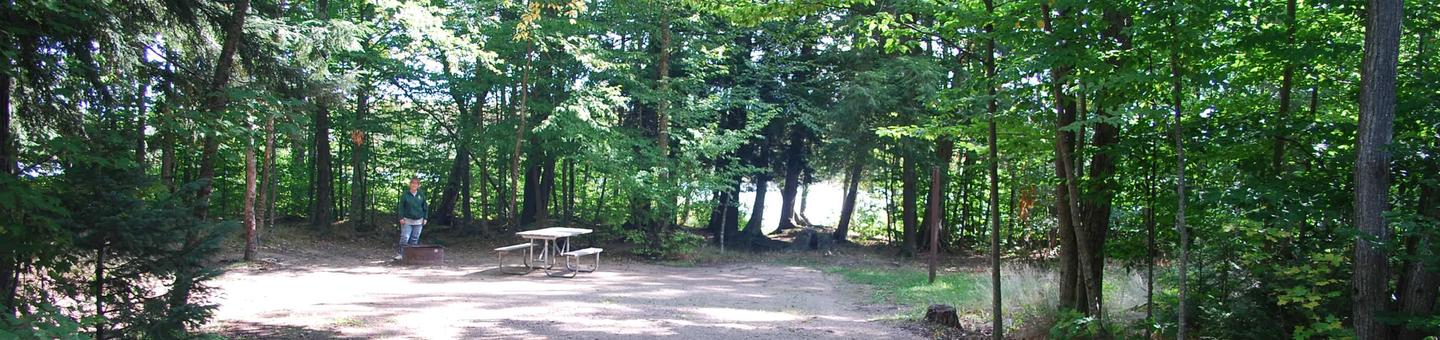 AuTrain Lake Campground site #29 full site view with fire pit and picnic table.