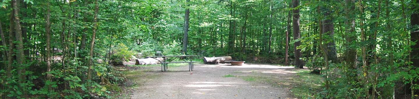 AuTrain Lake Campground site #30 full site view with fire pit and picnic table.