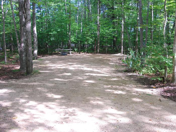 AuTrain Lake Campground site #36 full site view with fire pit and picnic table.