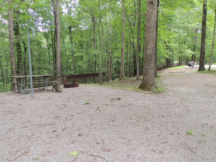 Gravel parking spot next to tent pad with picnic table and lantern hook. The site is surrounded by green trees.Site 9