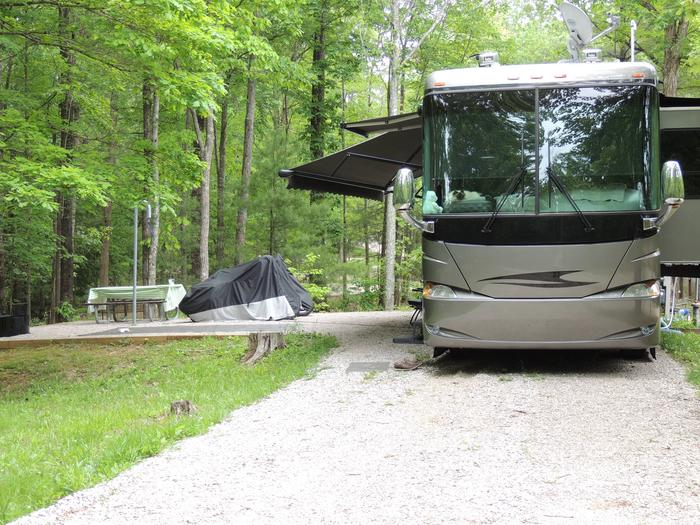 Picnic table sits on gravel tent pad surrounded by green trees.Campground Host Site 6