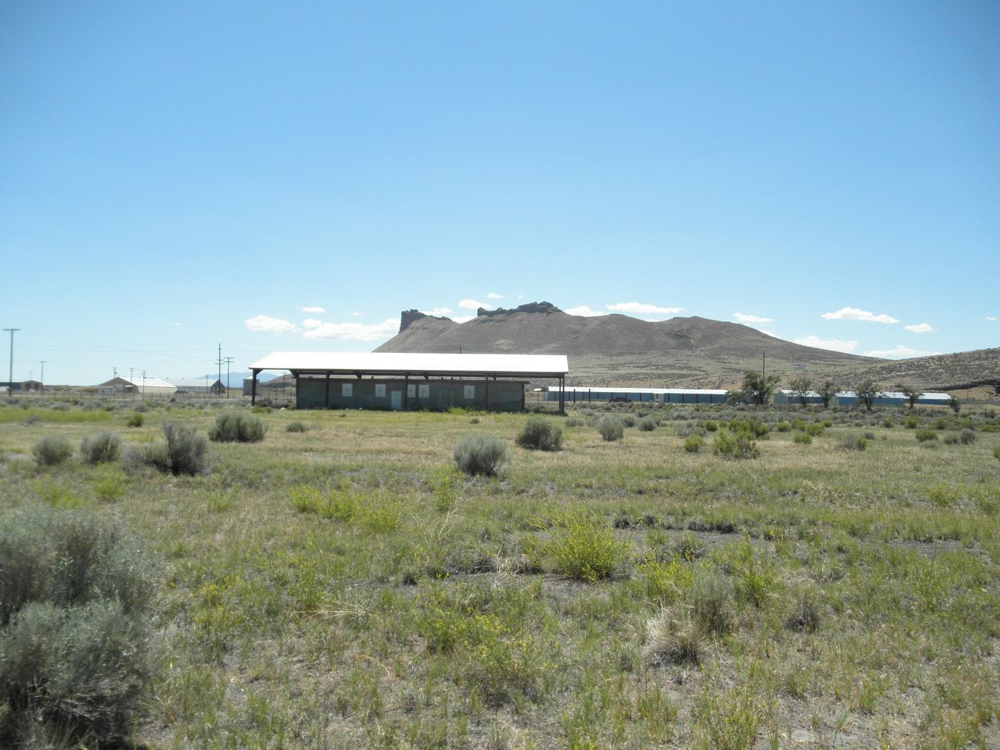 Tule Lake Segregation Center Jail with Castle Rock in the back ground