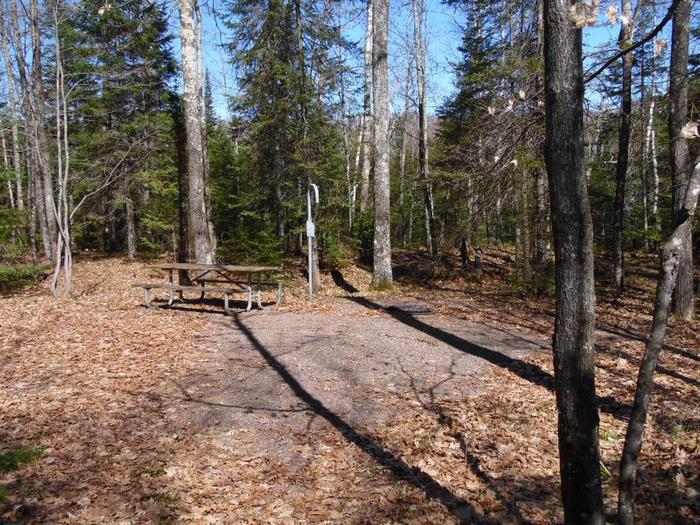 Two Lakes Campground site #35 with picnic table and fire pit view among the trees.