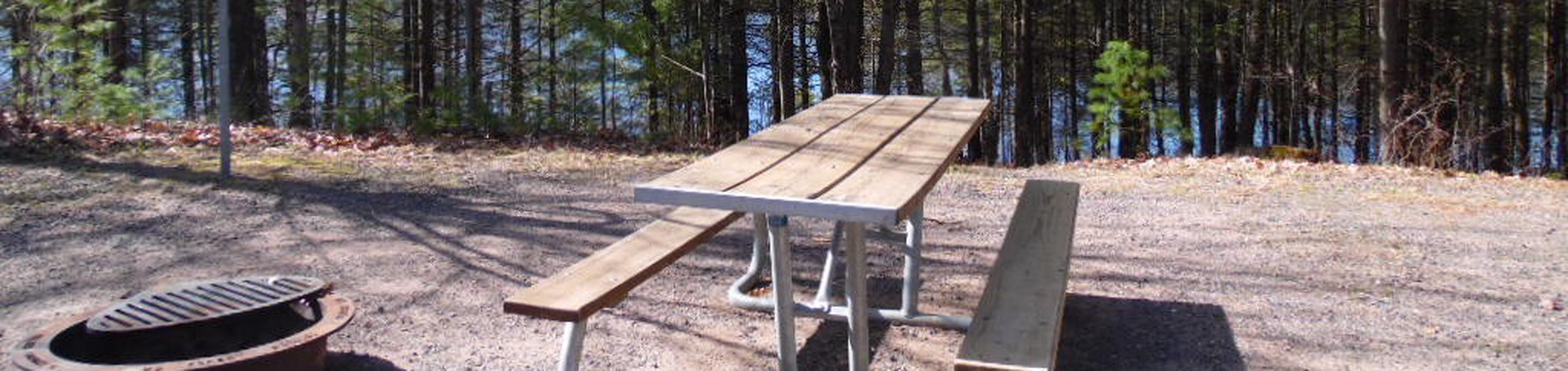 Two Lakes Campground site #64 with picnic table and fire pit view among the trees.