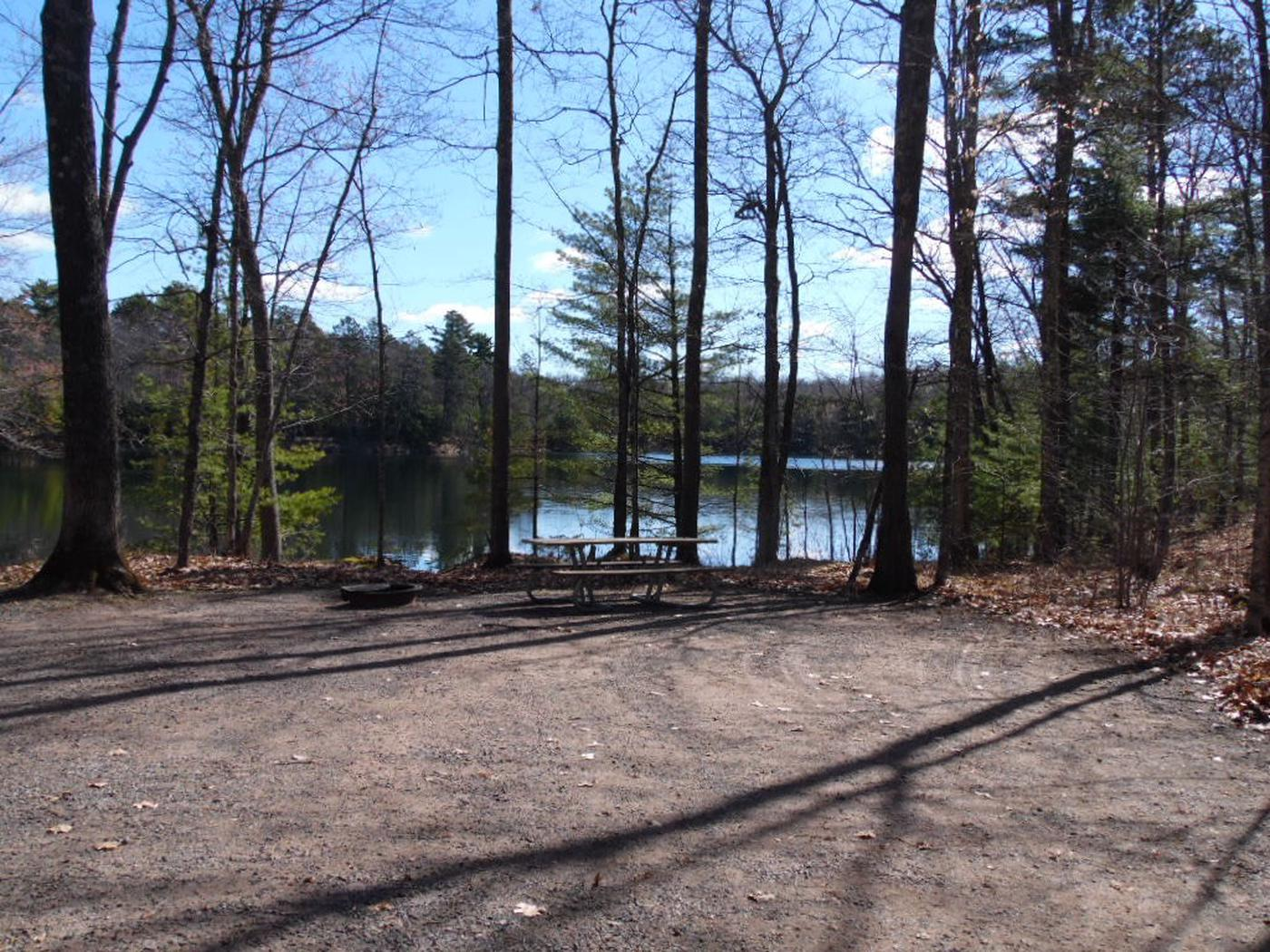 Two Lakes Campground site #75 with picnic table and fire pit view among the trees.