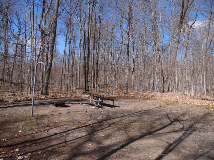 Two Lakes Campground site #76 with picnic table and fire pit view among the trees.