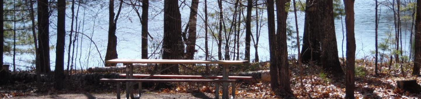 Two Lakes Campground site #78 with picnic table view among the trees.