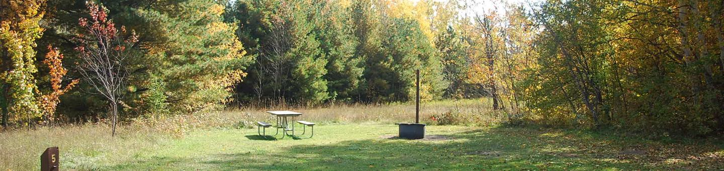 Bay Furnace Campground site #05; heavily treed site with picnic table and fire pit.