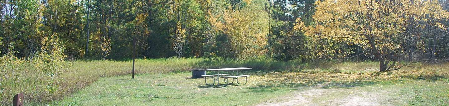 Bay Furnace Campground site #06; heavily treed site with picnic table and fire pit.