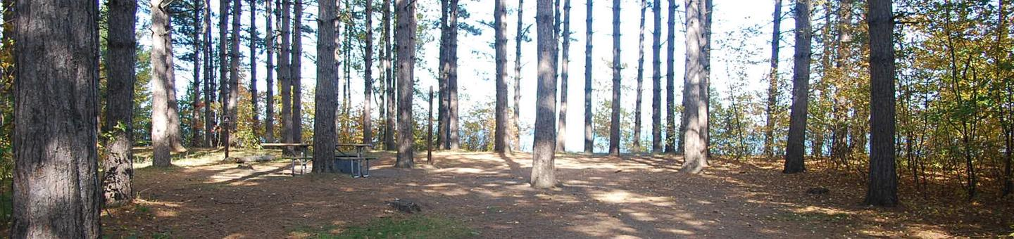 Bay Furnace Campground site #12; heavily treed site with picnic table and fire pit.