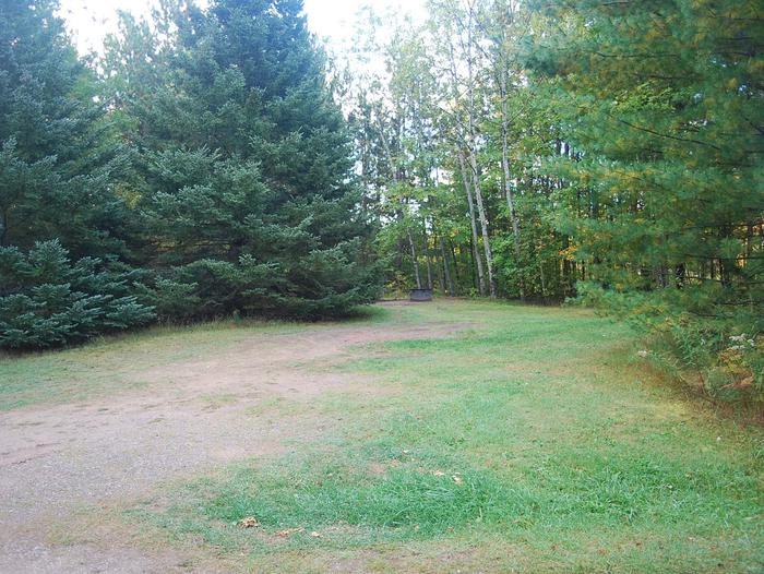 Bay Furnace Campground site #27; heavily treed site with picnic table and fire pit.