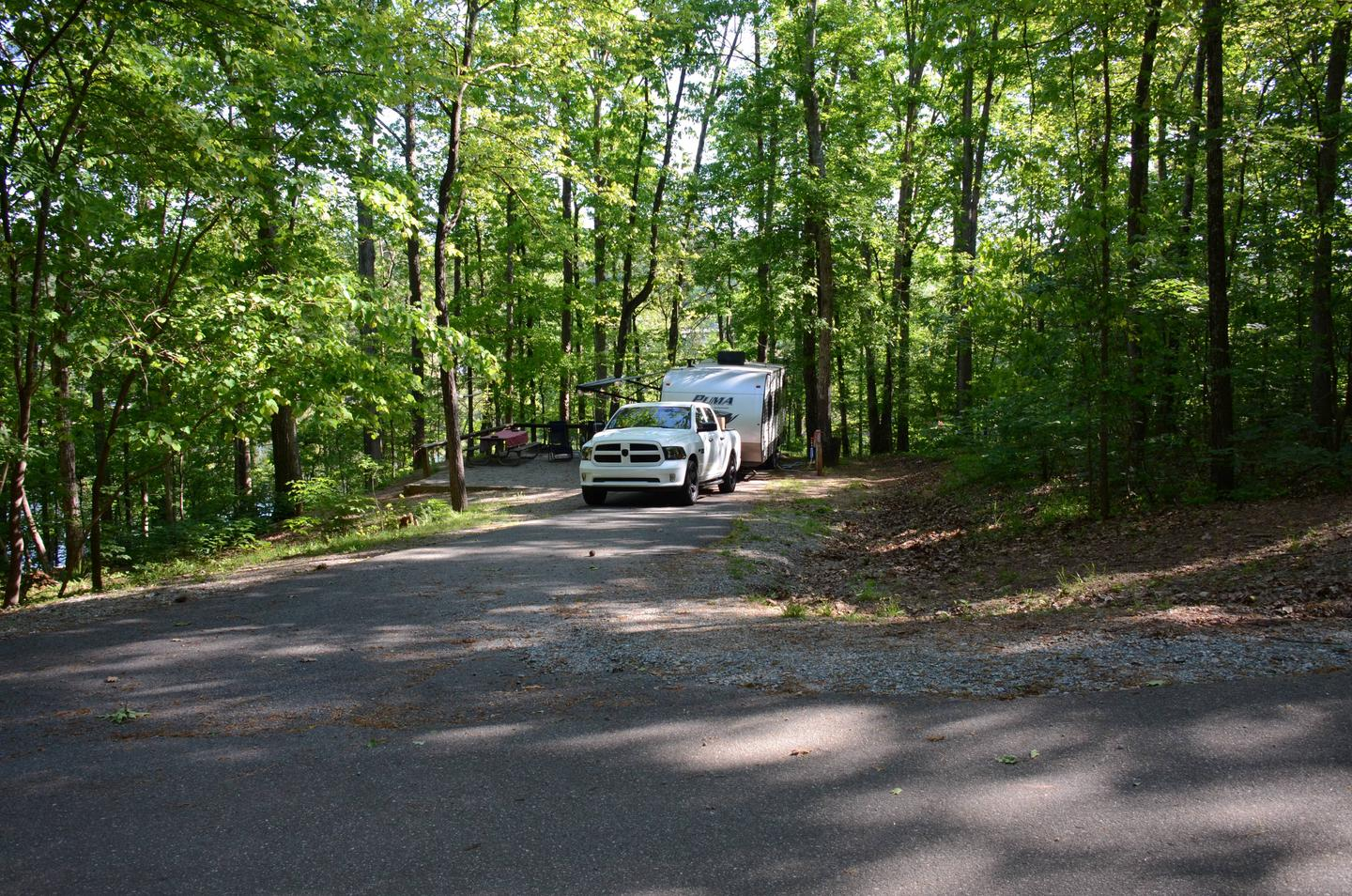 Driveway entrance angle, utilities-side clearance.McKinney Campground, campsite 8