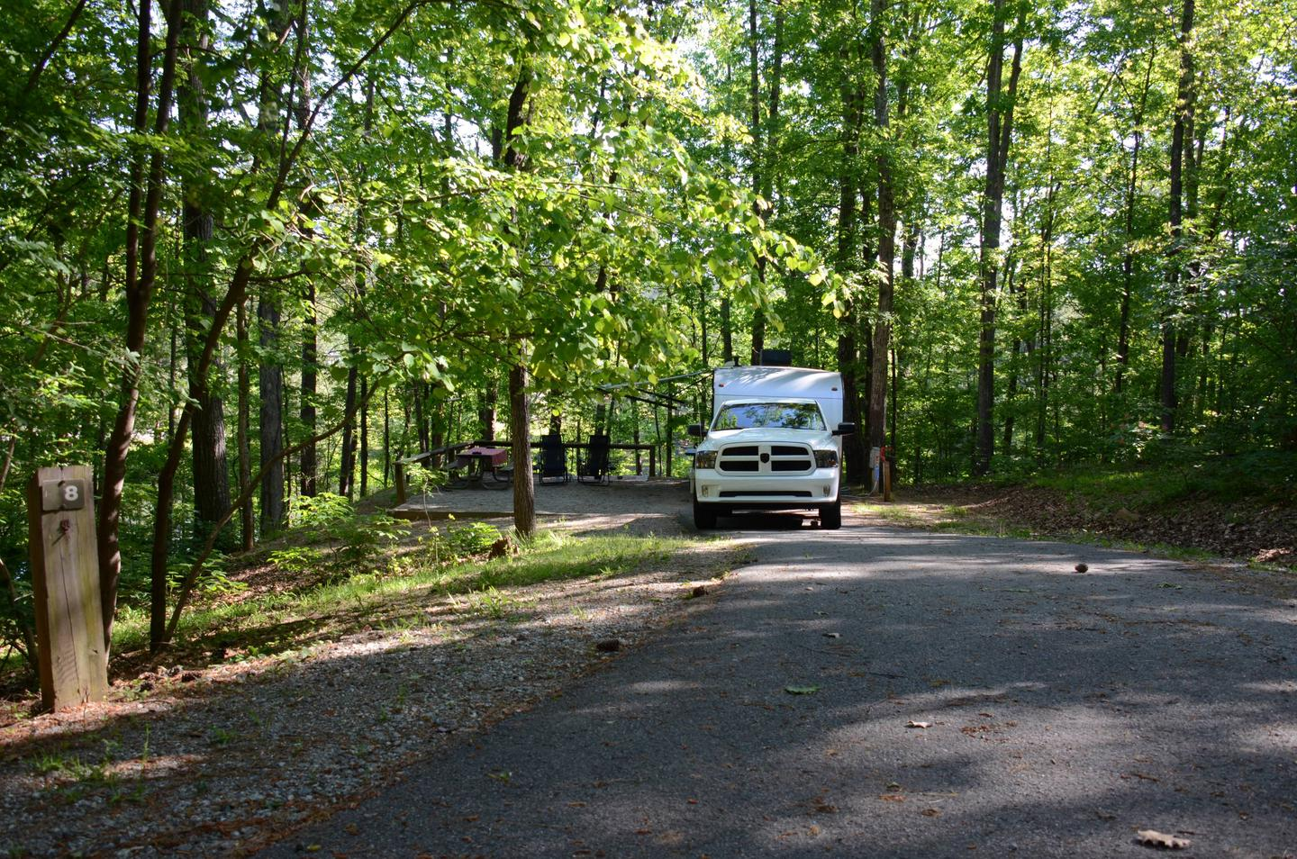 Driveway, awning-side clearance.McKinney Campground, campsite 8