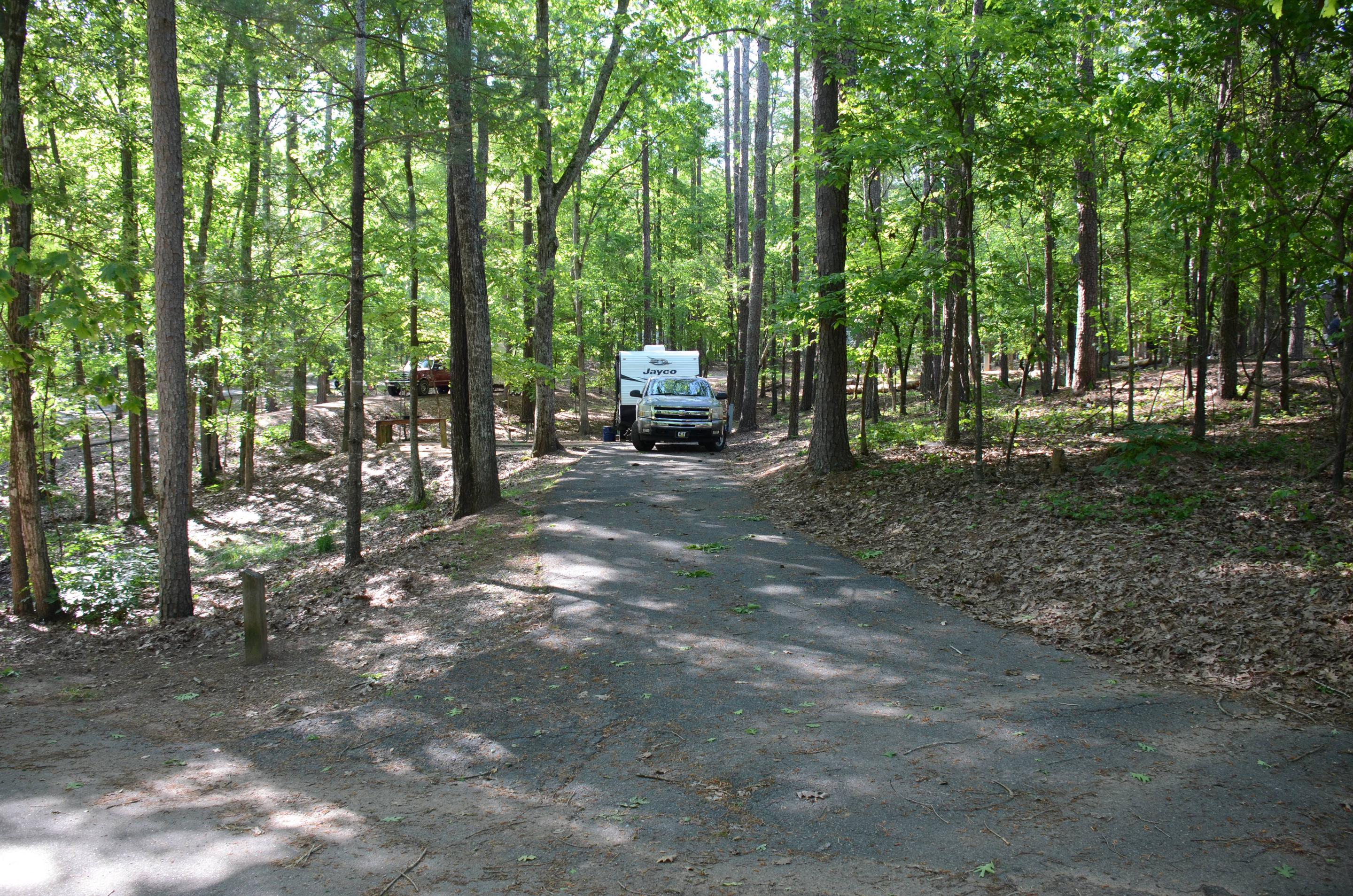 Driveway entrance angle, utilities-side clearance.McKinney Campground, campsite 9