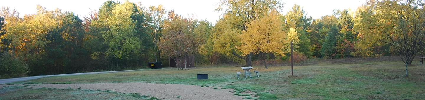 Bay Furnace Campground site #49; heavily treed site with picnic table and fire pit.