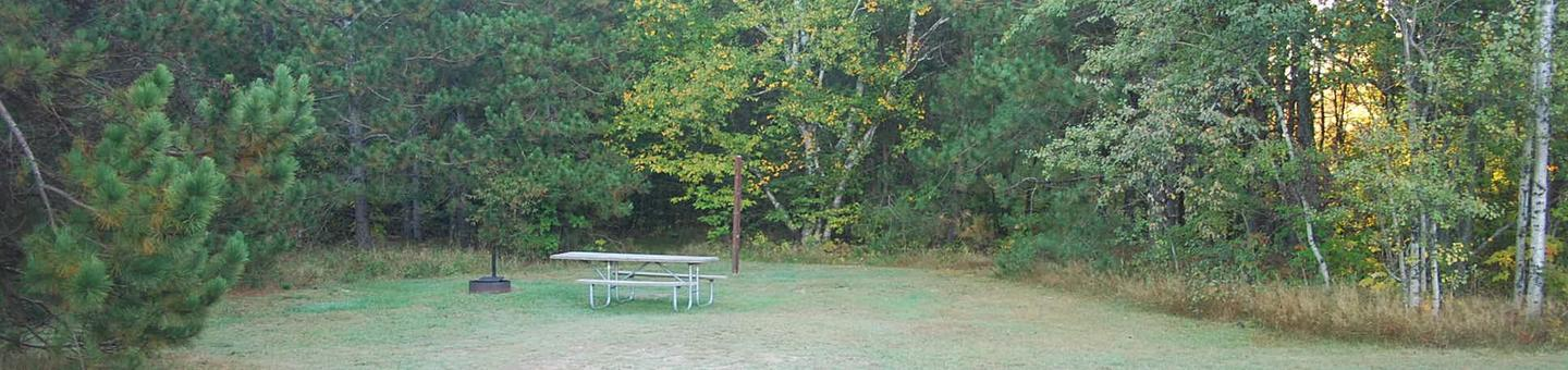 Bay Furnace Campground site #50; heavily treed site with picnic table and fire pit.