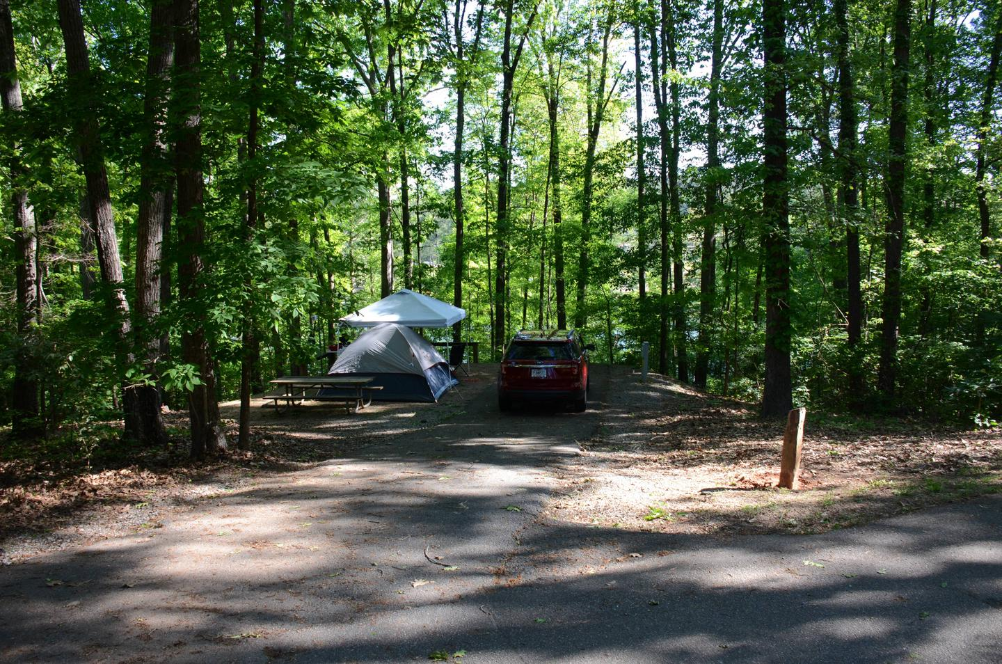 Driveway slope, awning-side clearance.McKinney Campground, campsite 10.