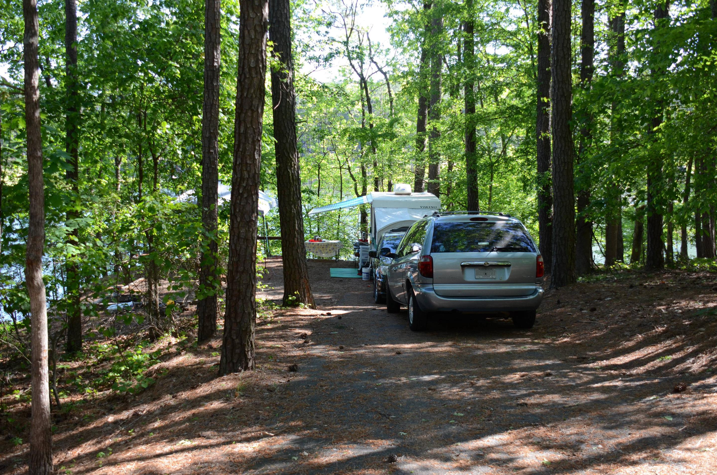 Driveway slope, awning-side clearance.McKinney Campground, campsite 21.