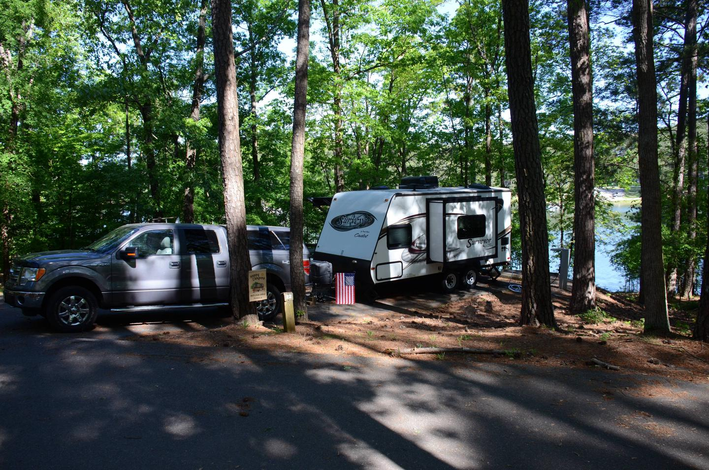 Driveway length, utilities-side clearance.McKinney Campground, campsite 22