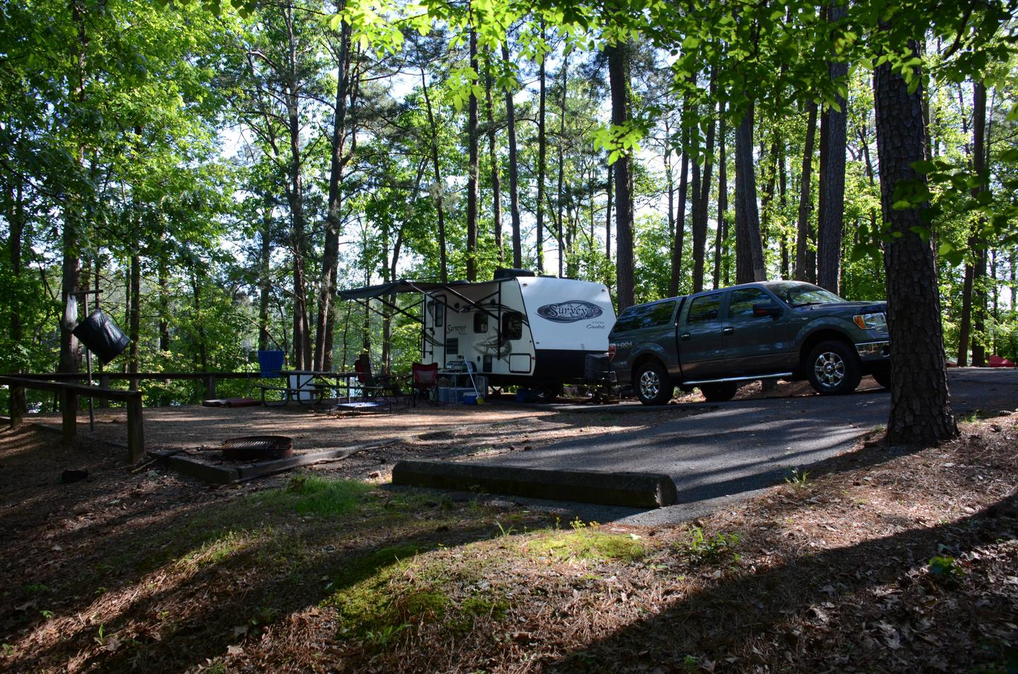 Driveway slope, awning-side clearance.McKinney Campground, campsite 22.