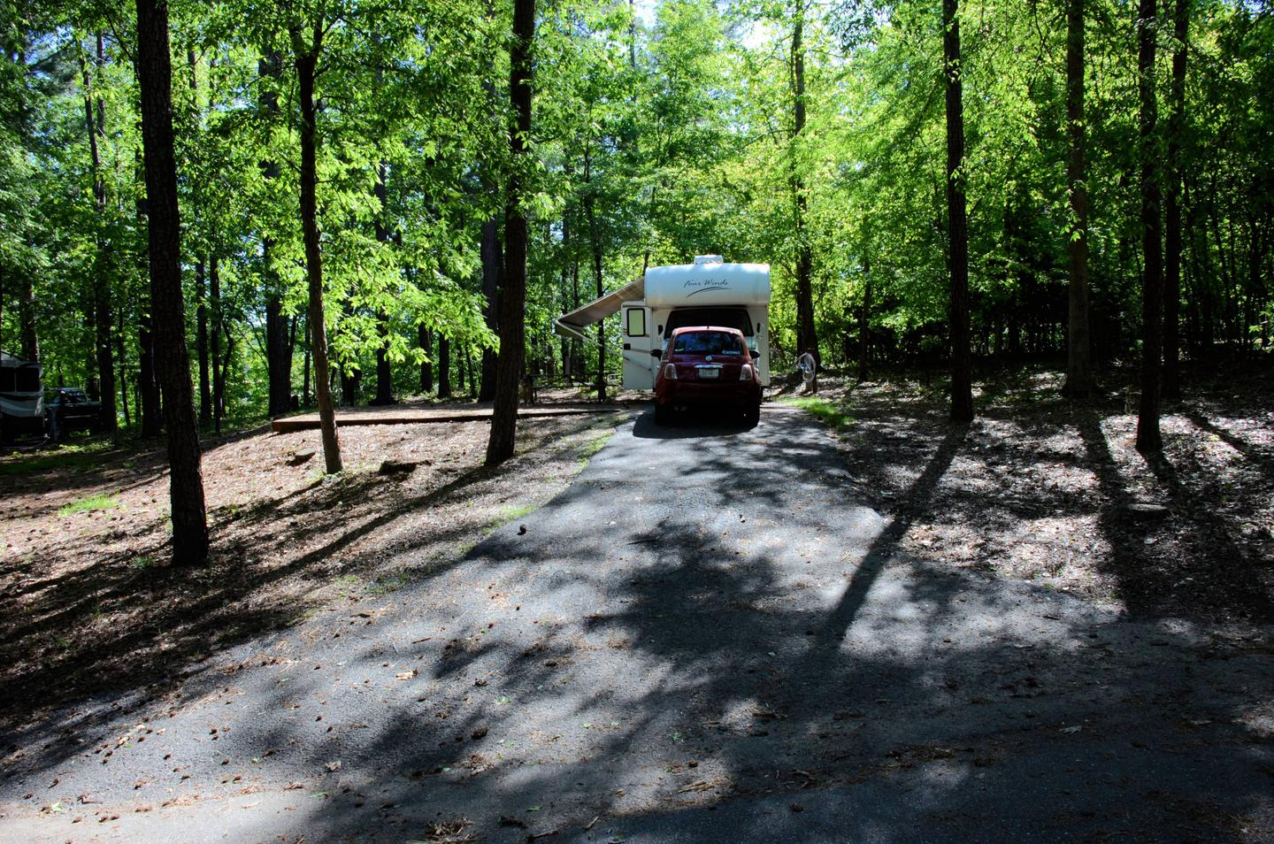 Driveway, utilities-side clearance, awning-side clearance.McKinney Campground, campsite 23.