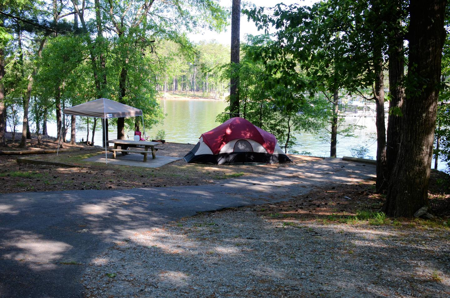 Driveway Slope, tent pad.McKinney Campground, campsite 27.