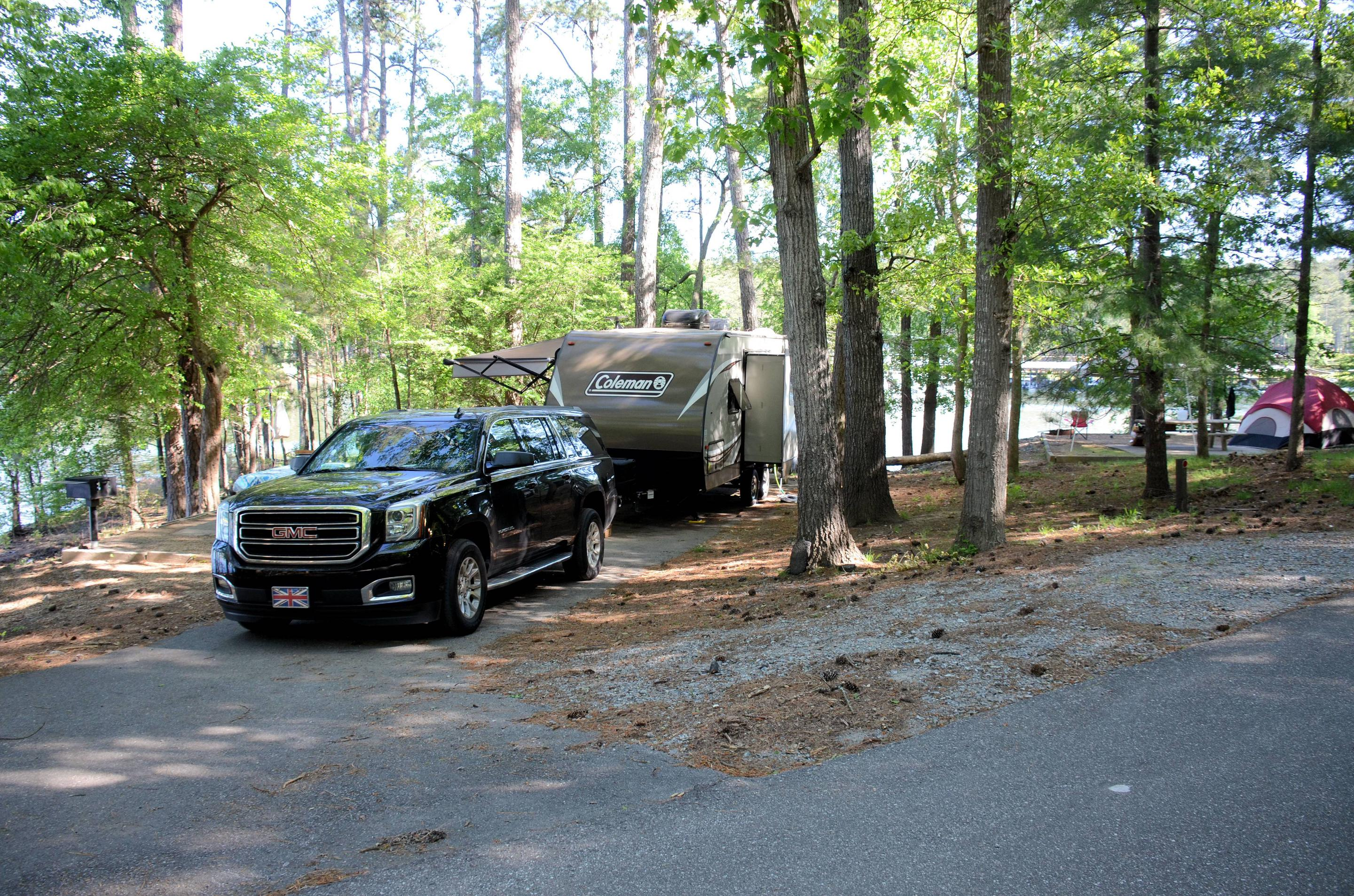Driveway, utilities-side clearance.McKinney Campground, campsite 28