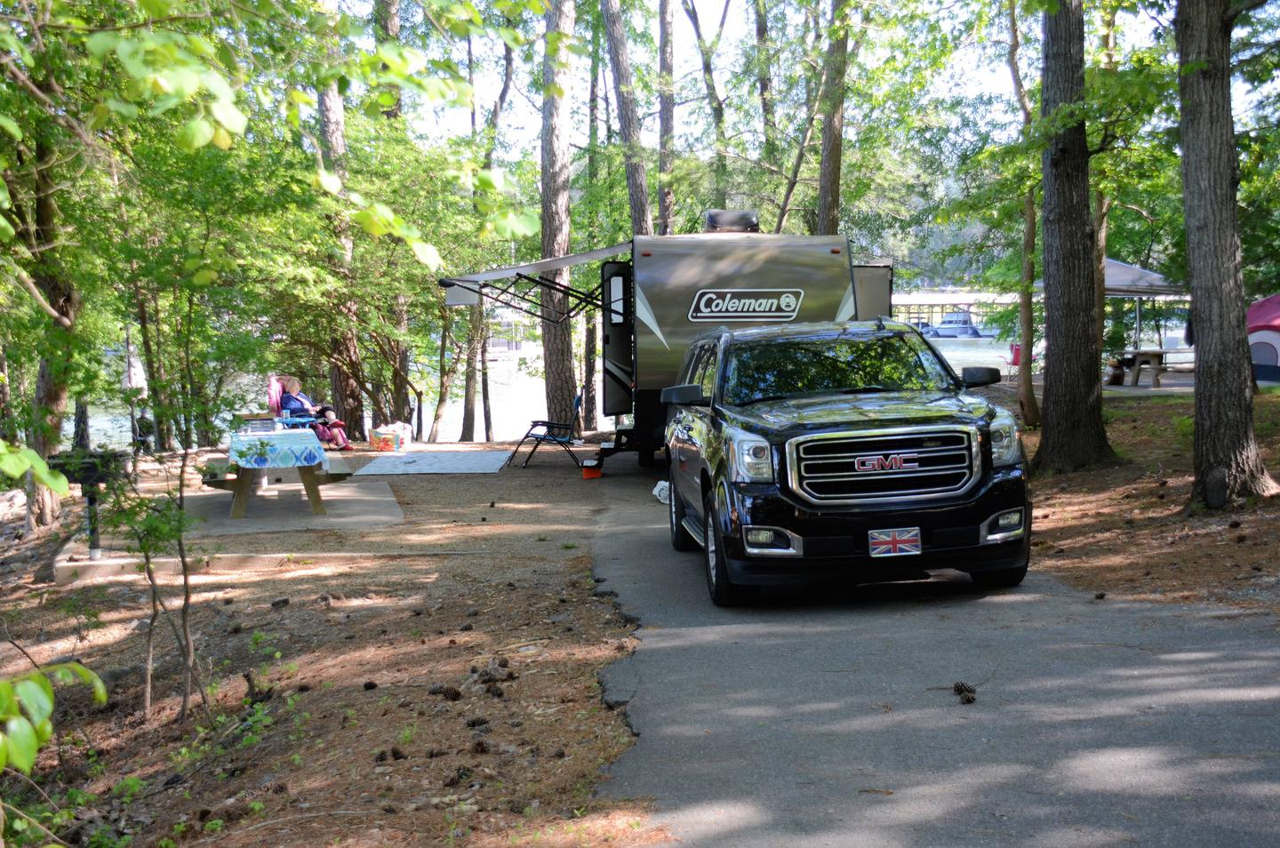 Driveway slope, awning-side clearanceMcKinney Campground, campsite 28.