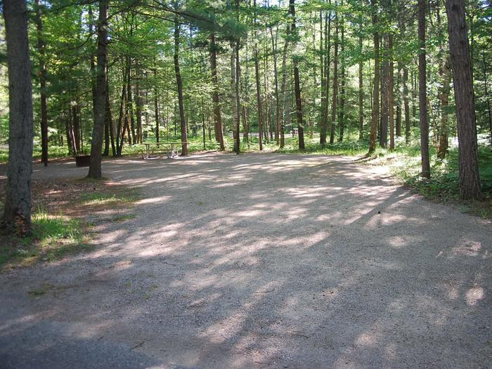 Camp Seven Campground site #27 picnic table and fire pit among the trees.